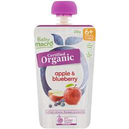 Macro Baby Organic 6 Months+ Apple & Blueberry 120g