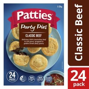 Patties Frozen Party Classic Beef Pies 24 pack