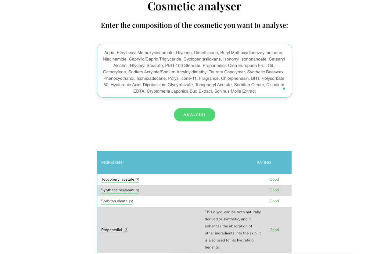 cosmetic analyser